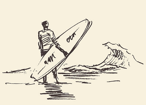 Drawn man sitting beach surfboard vector sketch Hand drawn illustration of young man sitting on the beach with seaview near a surfboard vector illustration sketch surfing stock illustrations