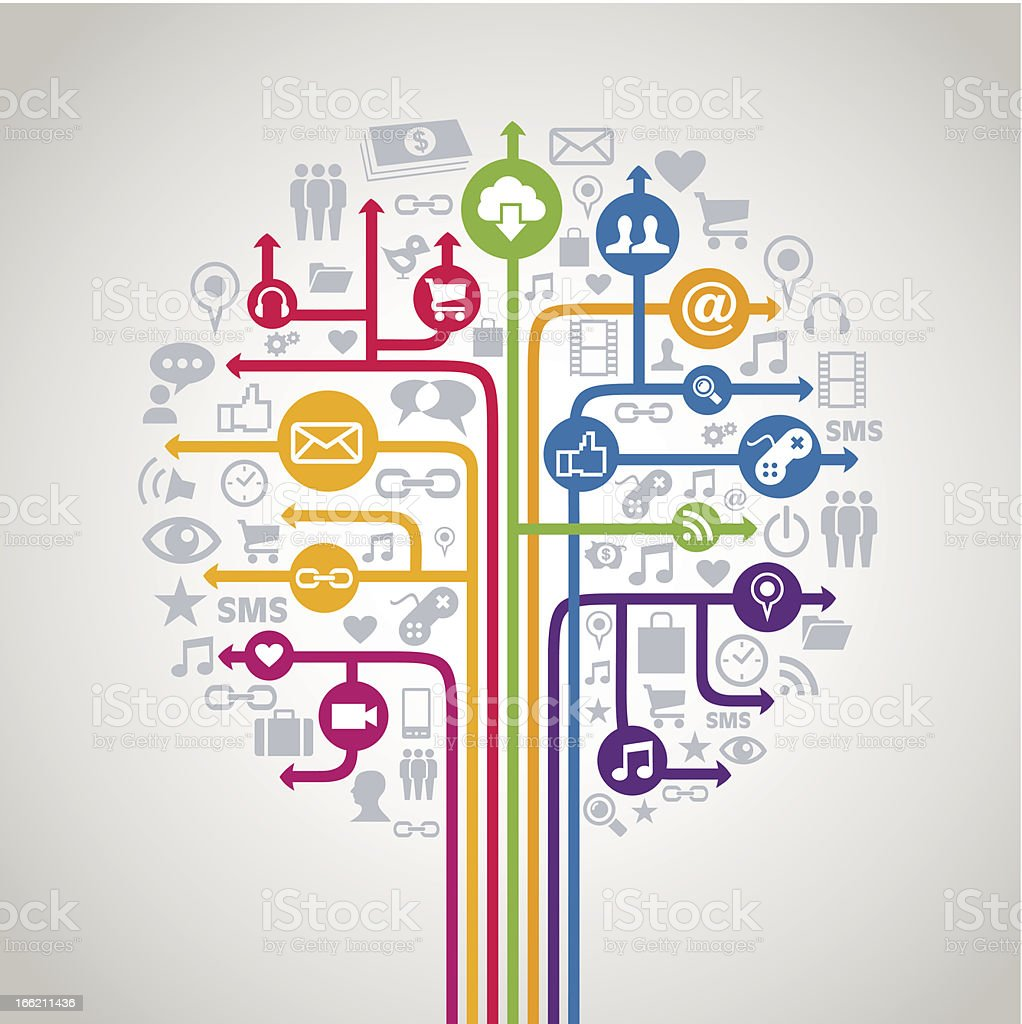 Drawn out social media concepts tree royalty-free stock vector art