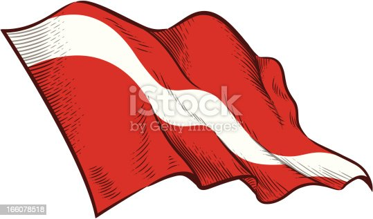 istock Drawn picture of the diver down flag  166078518