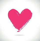 Drawn pink heart silhouette on white background