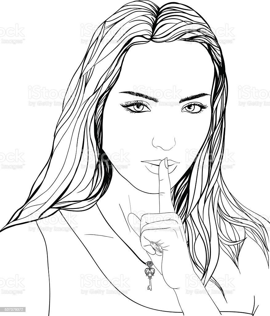 Gezeichnete Porträt Junge Frau Finger Auf Den Mund Legen Schlüssel ...