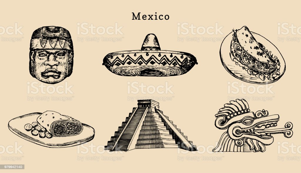Drawn Set Of Famous Mexican Attractionsvector Illustration Of Olmec