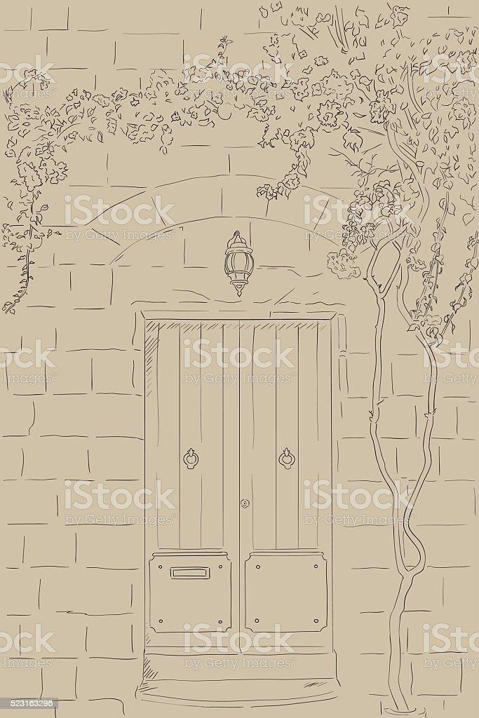 Ilustración de Diagrama De Dibujo De Puerta Lámpara Árbol En Pared ...