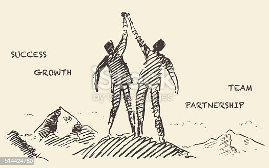 Hand drawn vector illustration of a two a successful climbers on a mountain sketch teamwork partnership concept vector illustration sketch