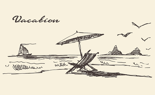 Drawn vacation poster seaside view beach sketch