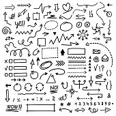 drawn vector arrows set on white background. Doodle infographic design elements