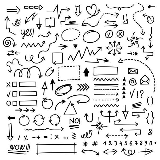 narysowane strzałki wektorowe ustawione na białym tle. doodle infografiki elementy projektu - bazgroły rysunek stock illustrations