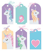 Drawn vector blank labels with cute cartoon style unicorn illustrations on colorful background