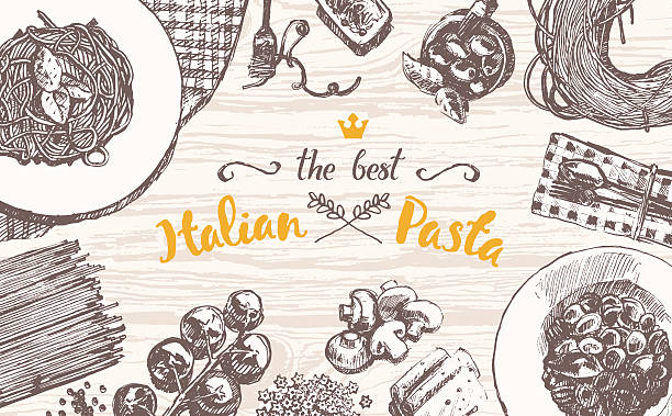 Drawn vector Italian pasta wooden table top sketch vector art illustration