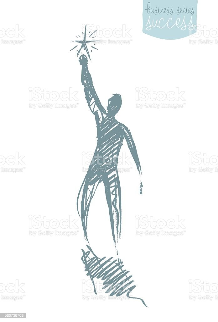 Drawn vector person star leadership concept sketch vector art illustration