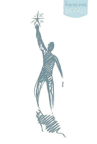 Drawn vector person star leadership concept sketch - Illustration vectorielle