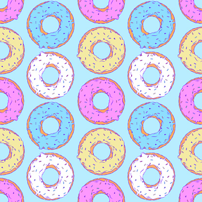 Drawn vector seamless illustration - Donuts with fondant and sprinkles.
