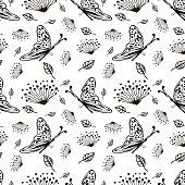 Drawn vector seamless pattern
