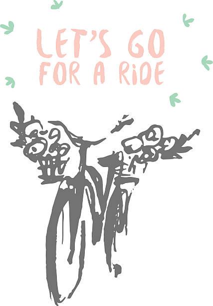 gezogene jahrgang fahrrad vektor-illustration skizze - lustige fahrrad stock-grafiken, -clipart, -cartoons und -symbole