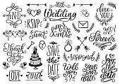 Drawn wedding set of laurels, rings, flowers, hearts etc. Vector handwritten phrases collection Save The Date, RSVP, Will You. Graphic background for festive invitations, cards,overlays.