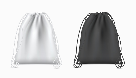 Drawstring backpacks white, black design with ropes for sport, hiking, students realistic mock ups set.