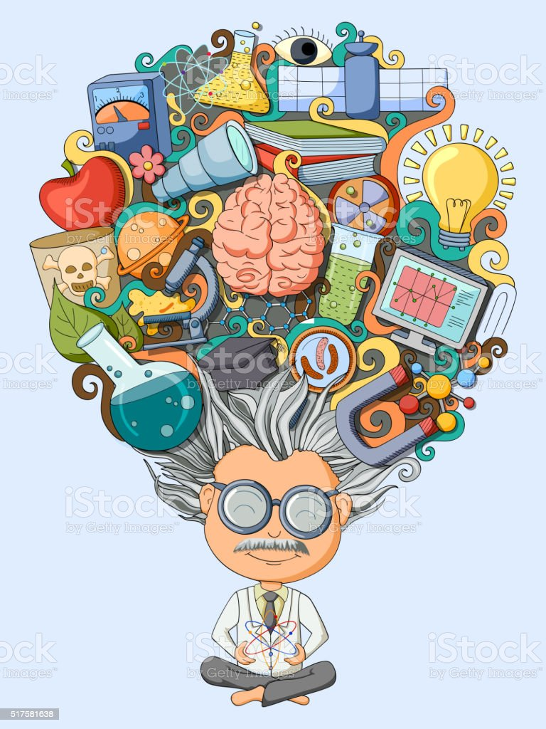 Dream and thought of scientist vector art illustration
