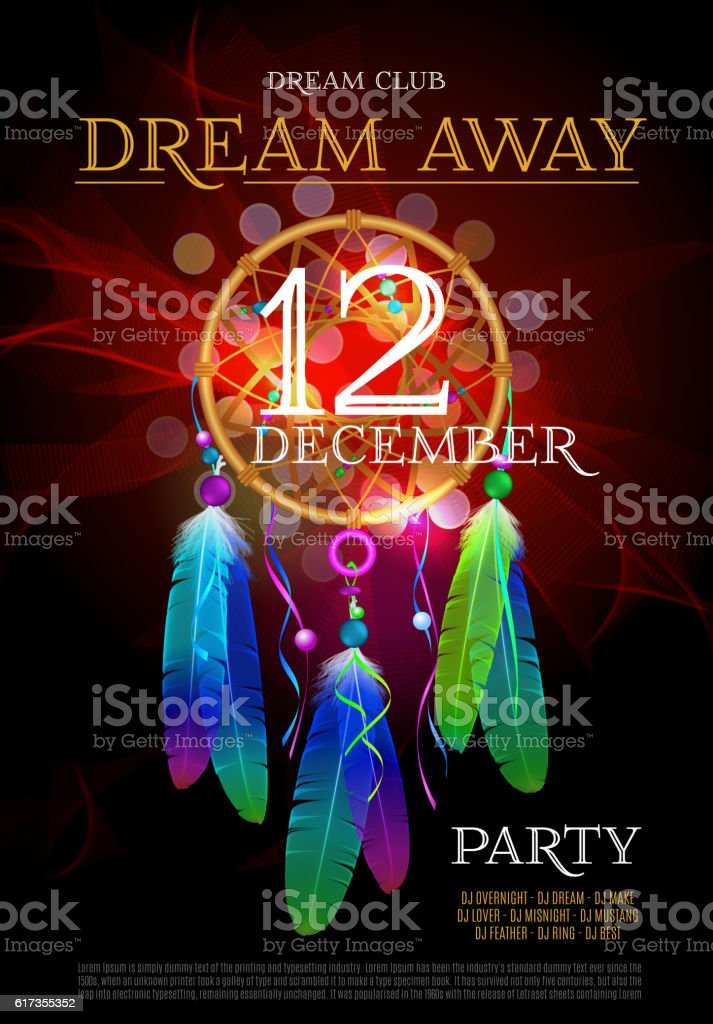 dream away party flyer dreamcatcher vector design eps 10 のイラスト