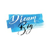 Dream big phrase. Hand drawn blue watercolor background. Modern brush calligraphy. Hand drawn lettering background. Ink illustration. Isolated on white background.