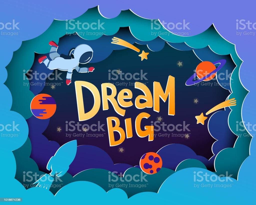 dream big cartoon style greeting card with astronauts planets stars