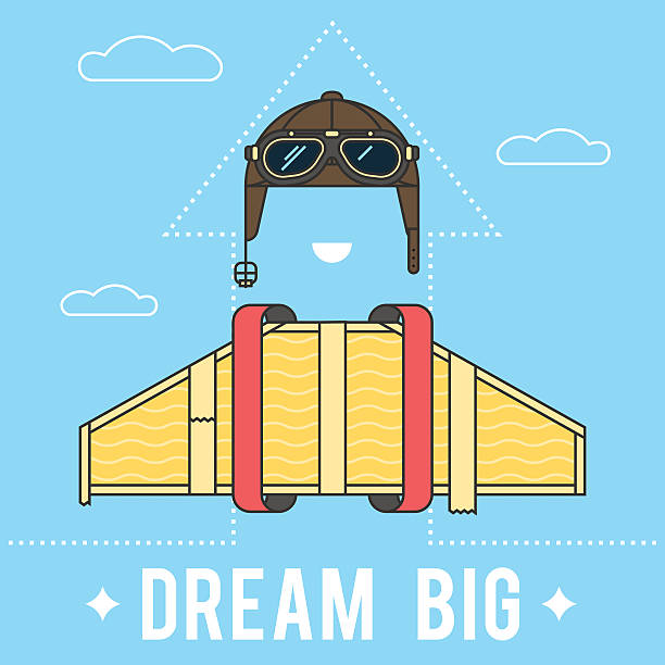 Dream big concept Dream big concept , cardboard wings and a helmet with goggles Aviator retro. Modern flat line vector logo pictogram illustration aviation and environment summit stock illustrations