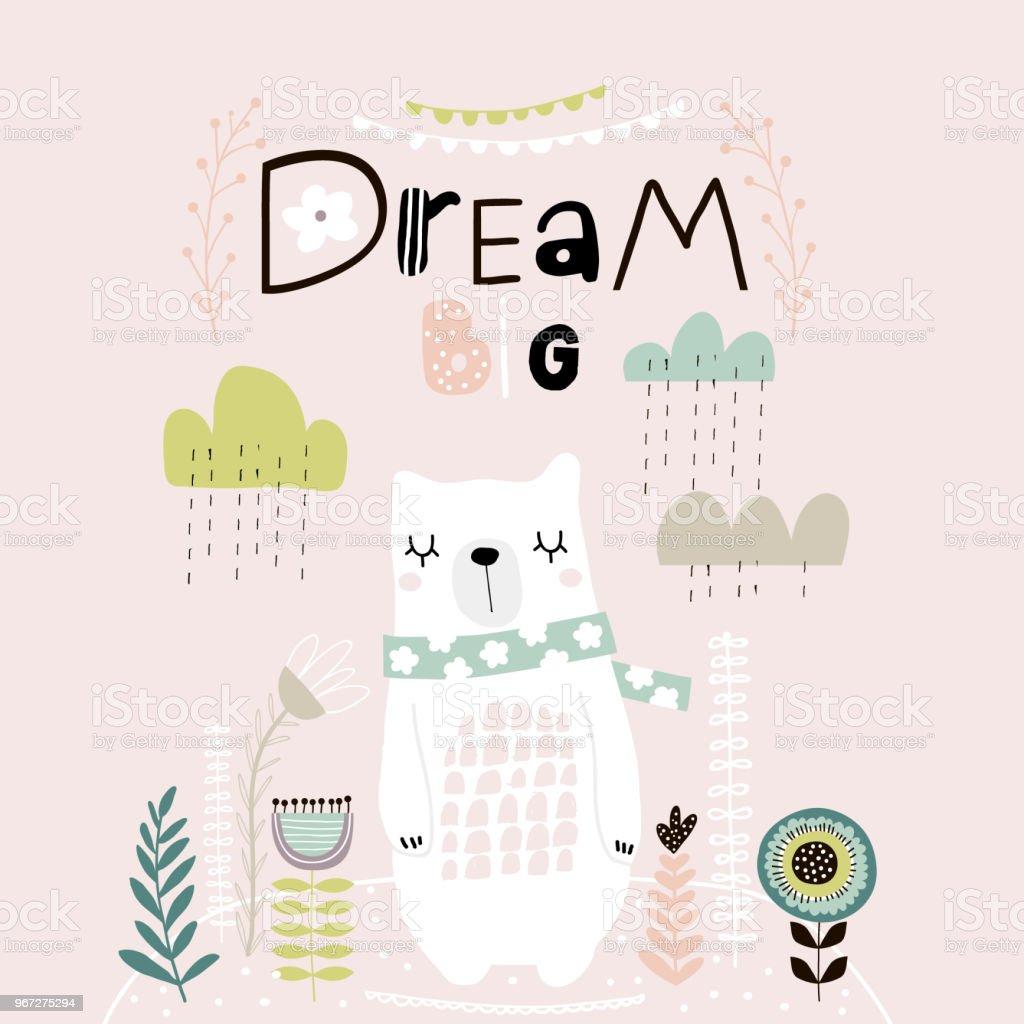 ilustração de letras grande sonho bonito dos desenhos animados urso