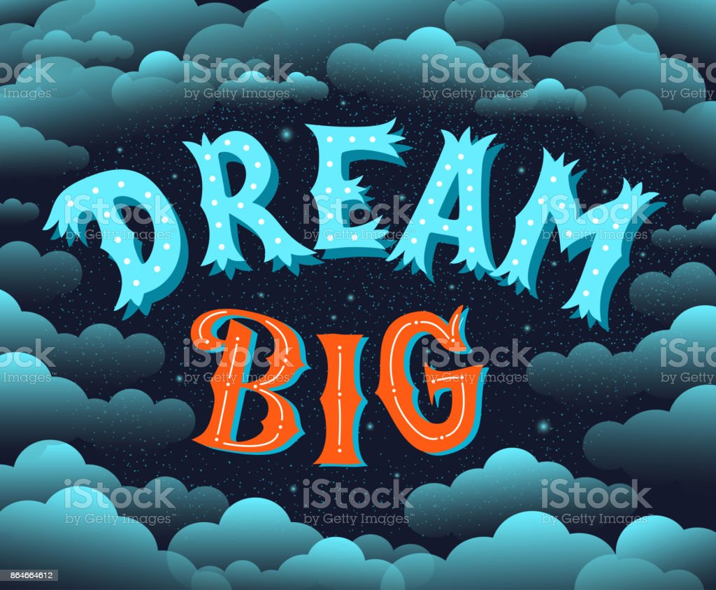 Dream Big. Lettering Motivational poster.