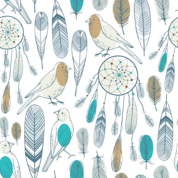 Dream catcher and birds. Vector pattern Dream catcher and birds. Vector seamless pattern lace textile stock illustrations