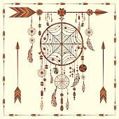 Dream Catcher. Ethnic Indian colored decorative components. Isolated arrows, feathers, beads. The concept for the design. Vector illustration