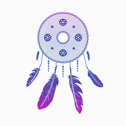 Dream catcher. Colorful round dreamcatcher with feathers. Hand drawn Indian talisman. Vector illustration.