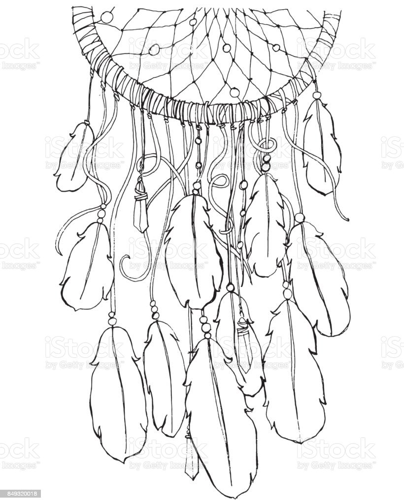 Dream Catcher Coloring Page For Adults Stock Vector Art More