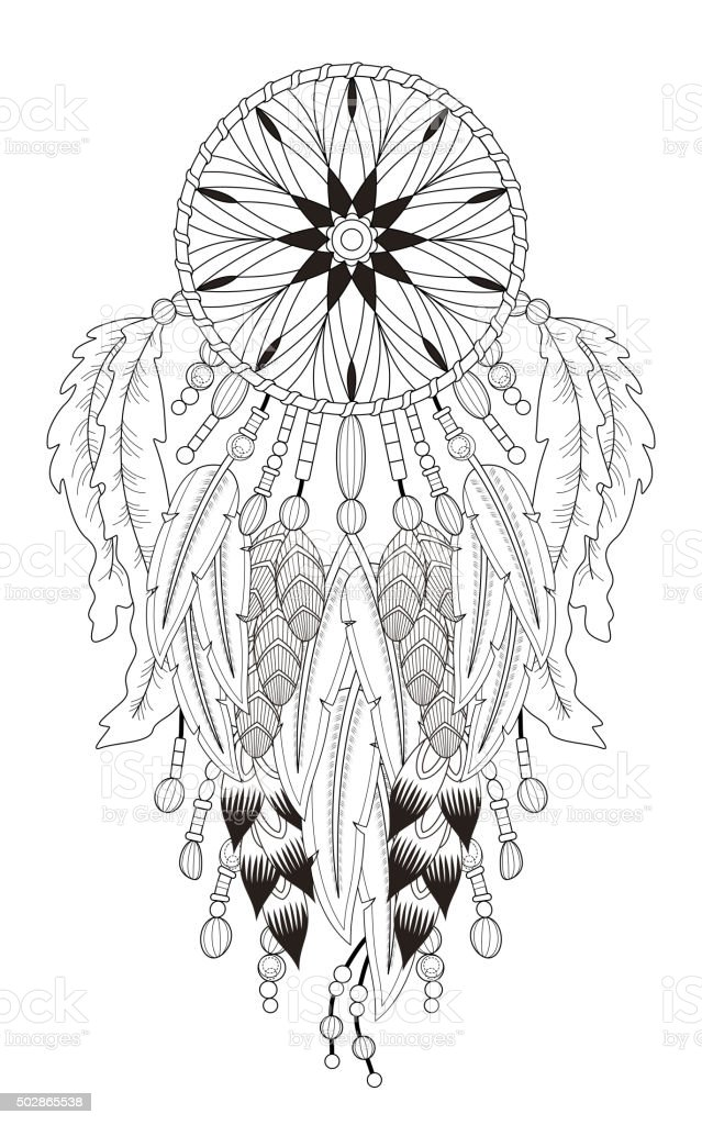 Dream Catcher Coloring Page Stock Illustration - Download Image Now - IStock
