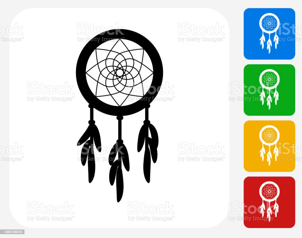 Dream catcher icon flat graphic design stock vector art for Dream catcher graphic