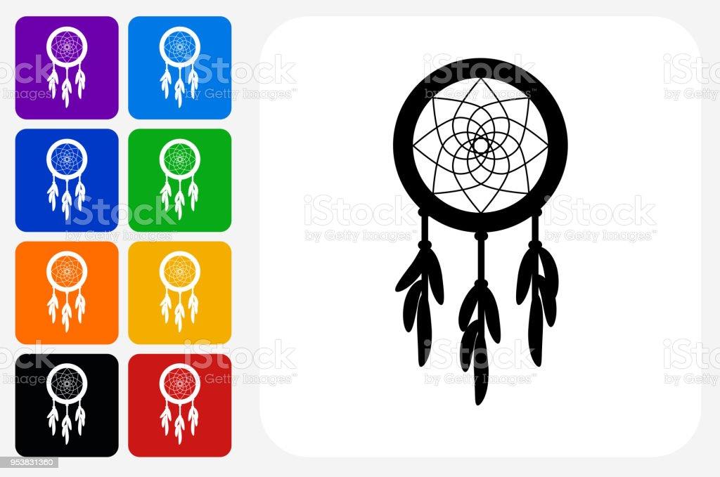 Dream Catcher Icon Square Button Set vector art illustration