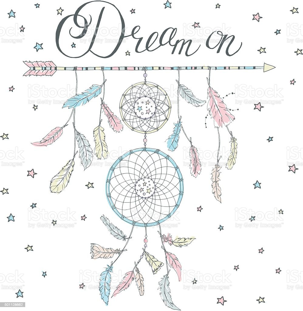 Dream catcher on an arrow with calligraphy text Dream on vector art illustration