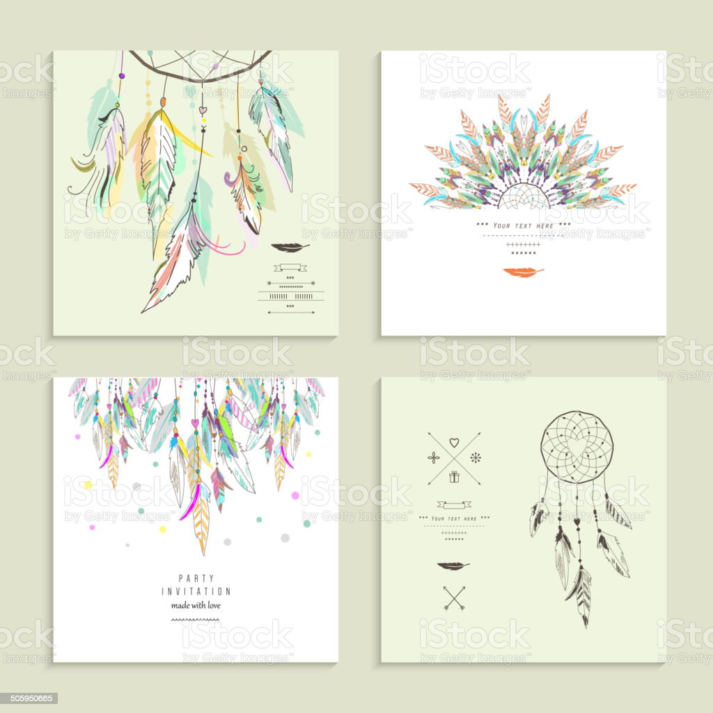 Dream  catcher. Set of four cards. Vector illustration. vector art illustration