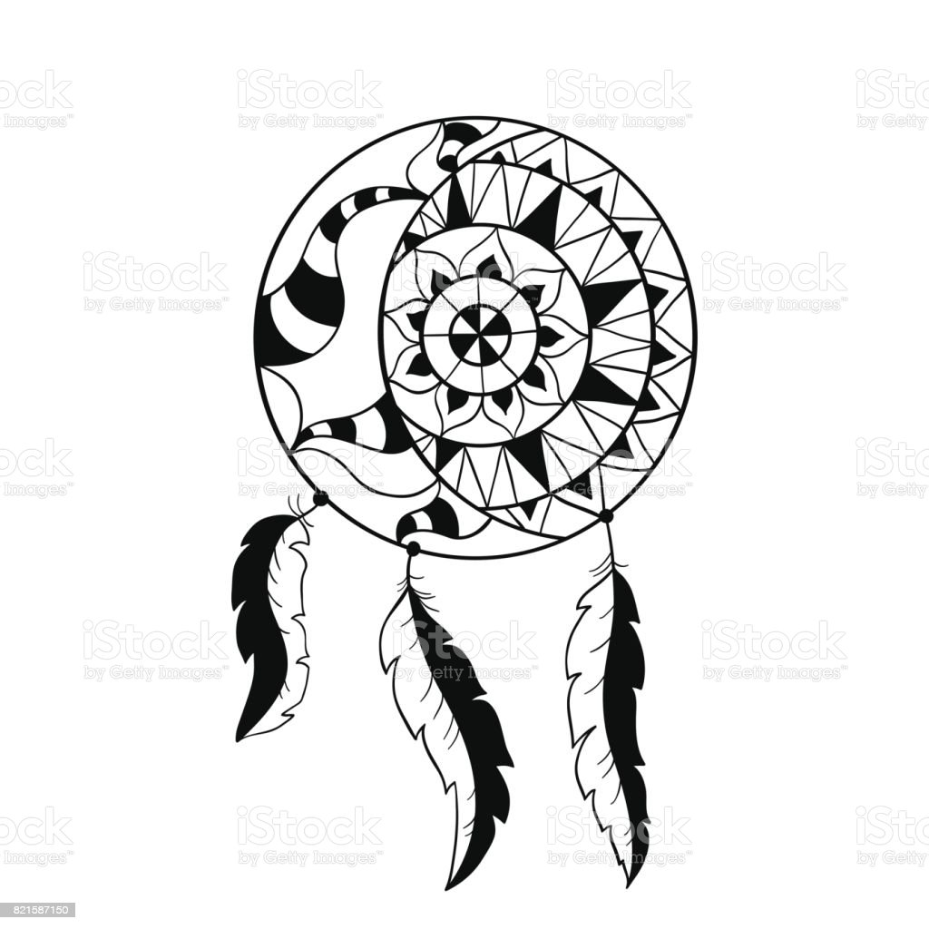 Dream Catcher Symbol Sun And Moon Ethnic Indian Element Stock Vector
