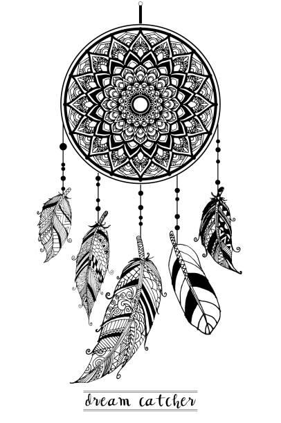 화살표와 깃털 손 꿈 포 수 그린 스타일 벡터, 아메리카 원주민 포스터, 인종 고립 된 디자인. 벡터 아트 일러스트
