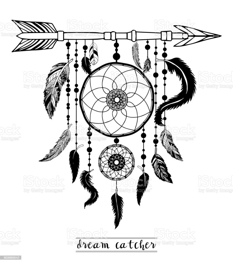 Dream Catcher with Arrows and Feathers Hand Drawn Style Vector, Native American Poster, Ethnic Isolated Design. vector art illustration