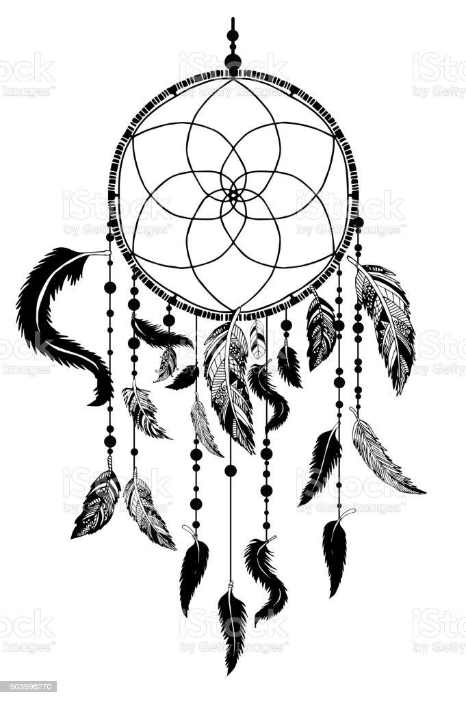 Ilustración De Atrapasueños Con Plumas Y Flechas Dibujados Estilo