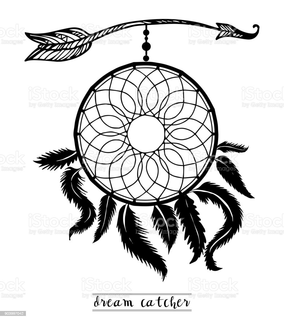 Dream Catcher With Arrows And Feathers Hand Drawn Style Vector