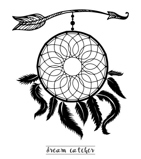 dream catcher with arrows and feathers hand drawn style vector, native american poster, ethnic isolated design. - tonatiuh stock illustrations, clip art, cartoons, & icons