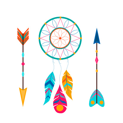 Dream catcher with feathers, gemstones and arrow. Magic symbol. Ethnic tribal element. Vector illustration