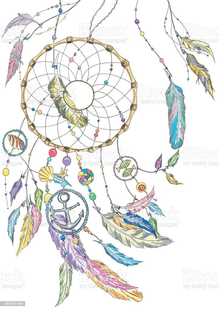 Attrape-rêves avec des produits de la mer et de plumes. Vecteur. - Illustration vectorielle