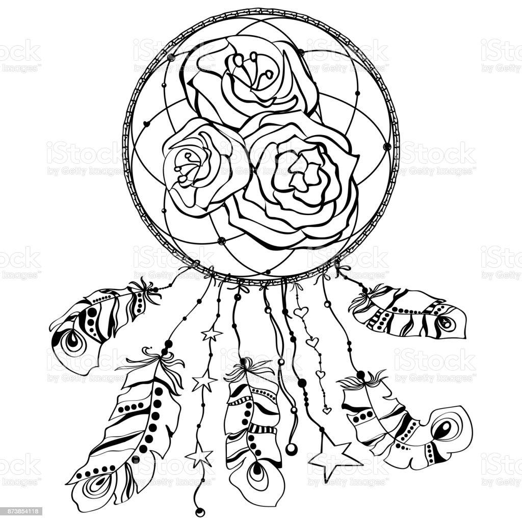 Capteur De Reves Avec Fleur Rose Art De Tatouage Symbole Mystique Imprimer Vecteurs Libres De Droits Et Plus D Images Vectorielles De Affiche Istock