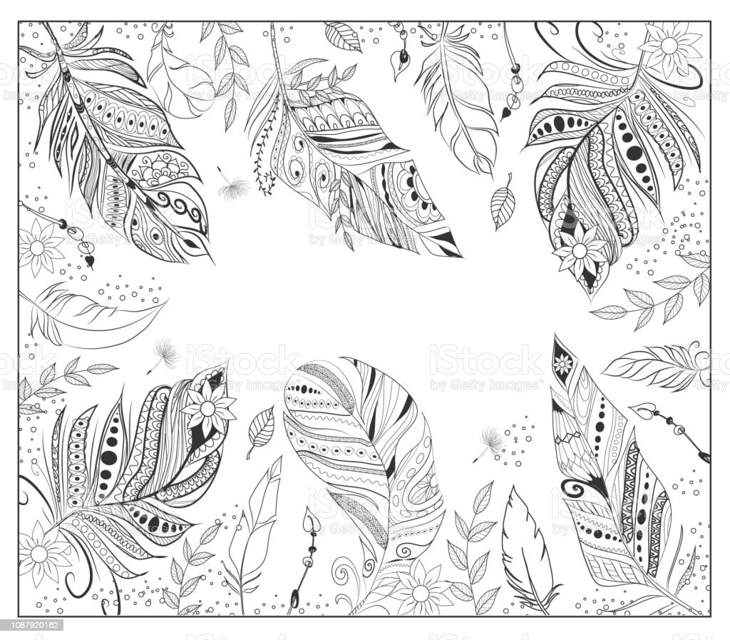 dream cather coloring page for adult coloring bookethnic decorative vector id