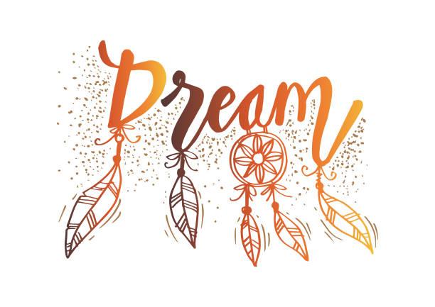 Dream hand lettering. Quote wall decor. Dream hand lettering. Quote wall decor. dreamcatcher stock illustrations