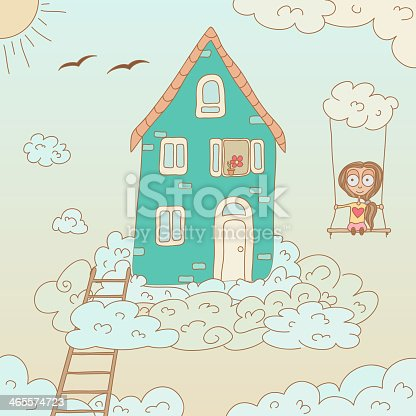 Girl playing in a fantasy world. EPS10 vector illustration, global colors, easy to modify.