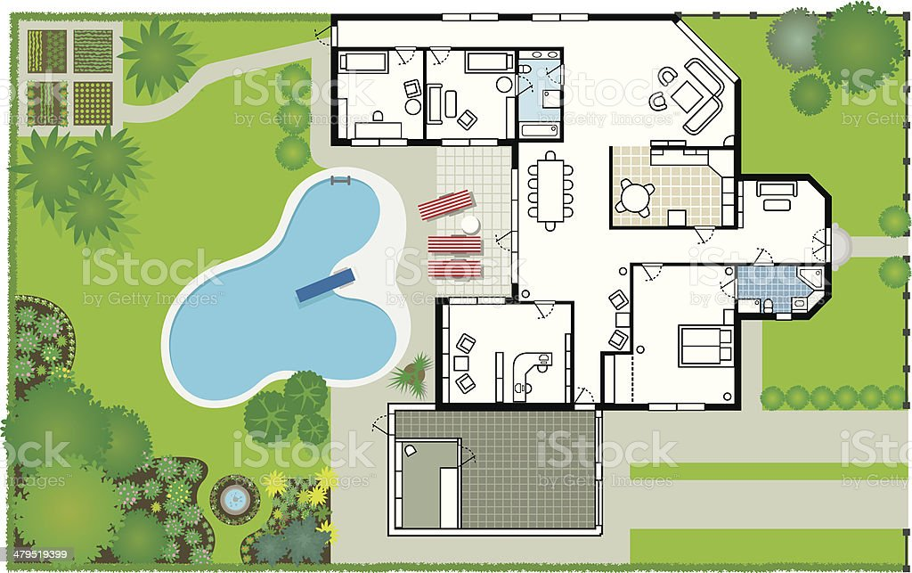 Dream house - blueprint (Vector & JPG) vector art illustration