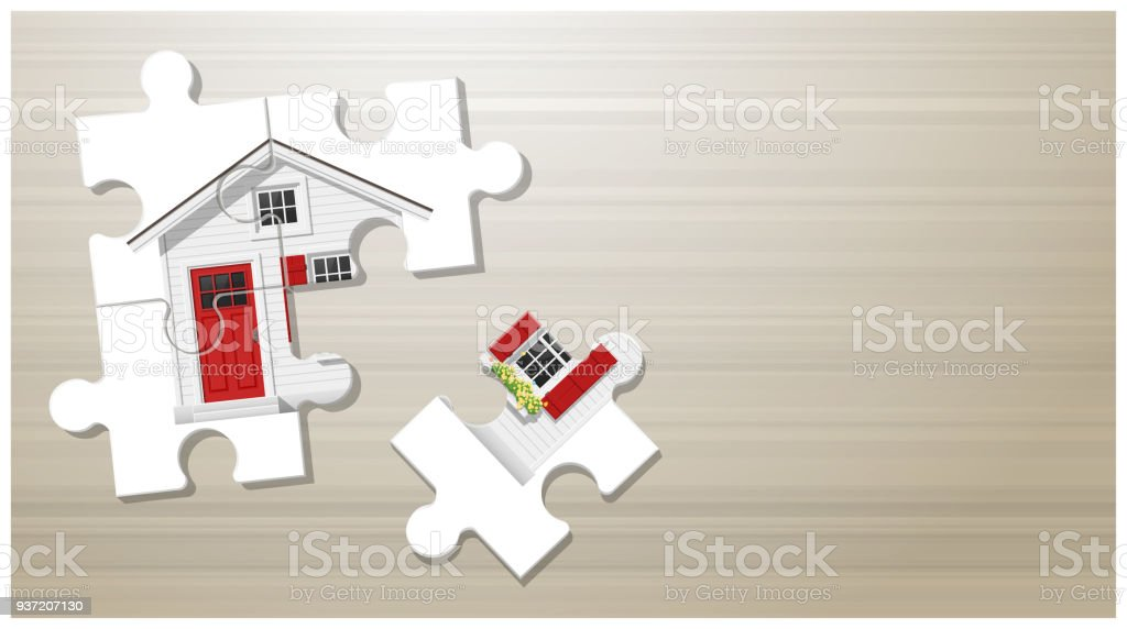 Dream house concept with puzzle house on wooden board background , vector , illustration - arte vettoriale royalty-free di Architettura